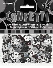 Black Glitz 13th Birthday Party Confetti 14g